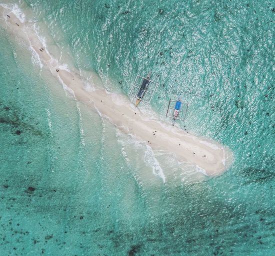 Aerial view of shoal in sea