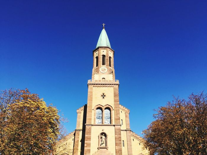 Süddeutschland Kirche Church Architecture Building Exterior Built Structure Sky Tree Architecture Religion Tower Low Angle View Clear Sky Day Outdoors Tall - High Blue