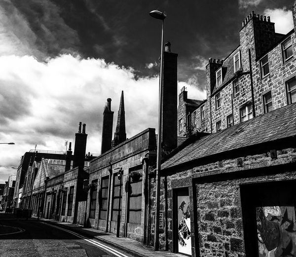 Architecture Built Structure Building Exterior Sky Cloud - Sky Outdoors Day City Travel Destinations Low Angle View No People Black And White Scotland Brick Building Chimneys Aberdeenshire Architecture Adventures In The City #urbanana: The Urban Playground