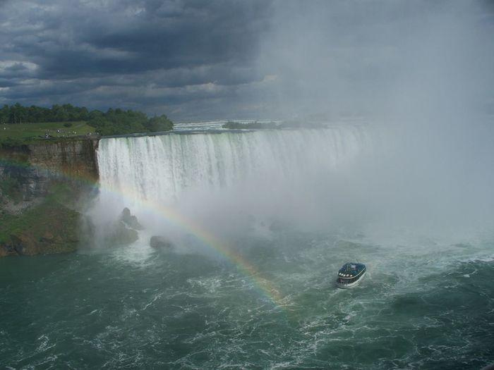 High angle view of rainbow over waterfall