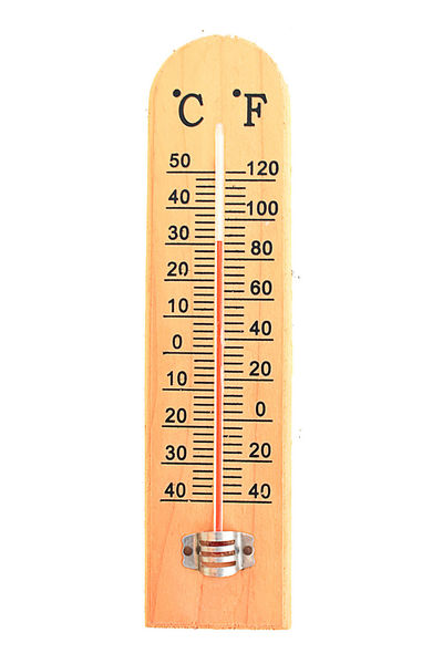 Wooden thermometer isolated on white background use for temperature measurement. Heat - Temperature Icon No People Text Thermometer White Background