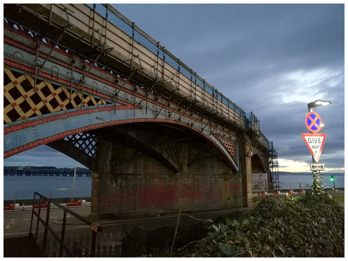 Tay railway bridge Architecture River Tay Shadow And Silouette Dundee Scotland Tourism Attractions Travel Destinations Girders Iron Rusting Arches Restoration Scaffolding