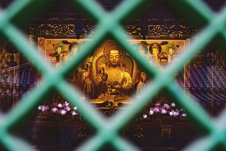 Golden Korea ASIA Temple Buddhism Chainlink Fence Focus On Background Metal Safety Protection Security Pattern No People Close-up Day Outdoors Inner Power