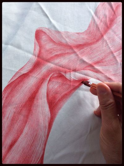 Drawing on silk, dye swatch. Spider lily petal. Abstract Art Flower