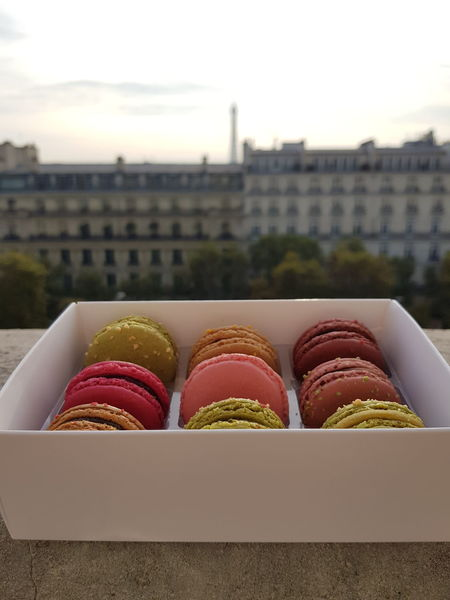 Tasty Macaroon Food And Drink Variation Food Ready-to-eat Freshness Colored Food Sweets Sugar Rainbow No People The Week On EyeEm Winter EyeEm Best Shots Architecture Balcony From My Point Of View Happiness Hungry Tasty French Food Eiffel Tower Travel Destinations Travel Enjoying Life