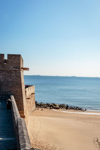 Ancient History Archaeological Site Architecture Castle Great Wall Hebei Sunlight Tourist Attraction Beach China Chinese Clear Sky Fortification Historic Site History Landmark Military Nature Qinhuangdao Sand Scenics Sea Shanhaiguan Water