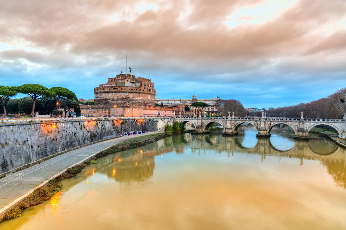 Castel Sant'Angelo, Rome, Italy Coliseum Colosseo Pantheon Roma St. Peter's Basilica Trevi Fountain Vatican Ancient Architecture Bridge - Man Made Structure Building Exterior Built Structure City Cloud - Sky Day Dome History Italy No People Outdoors Place Of Worship Reflection San Pietro Sant'angelo Sky Tiber Travel Destinations Water Waterfront