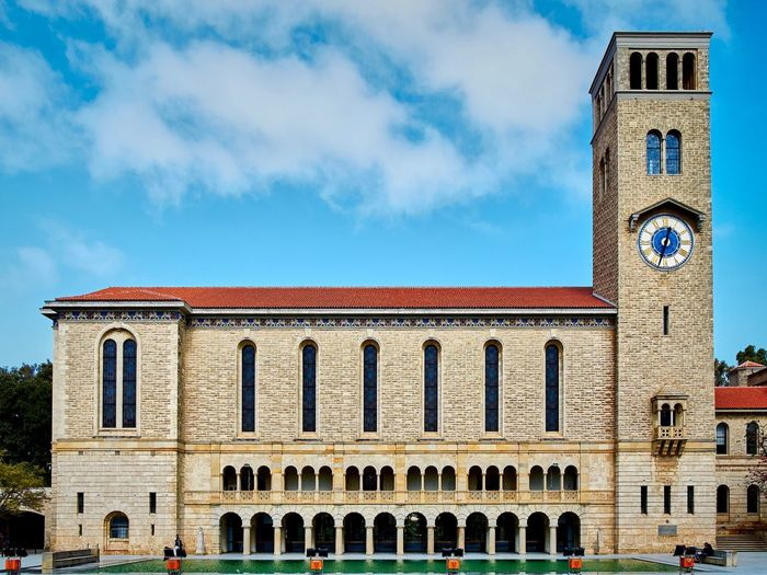 University Of Western Australia Architectural Column Architecture Blue Building Building Exterior Built Structure City Classical Style Clock Clock Tower Cloud - Sky Colonnade Day Façade History Nature No People Outdoors School Sky The Past Tower Travel Destinations Window