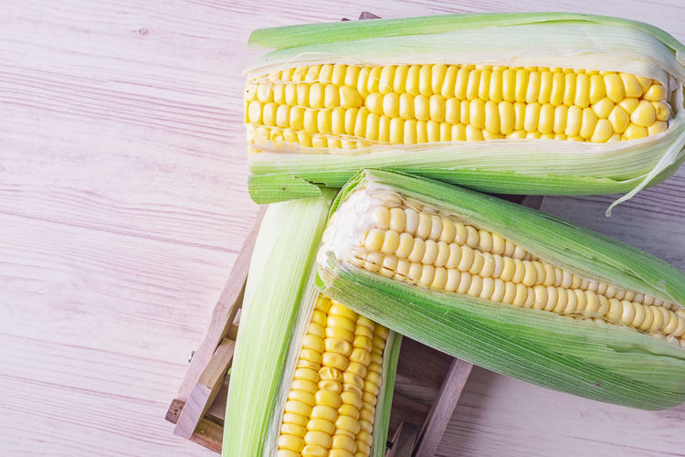 fresh raw sweet corn on the cob kernels over wooden background Food And Drink Vegetable Food Corn Freshness Wellbeing Healthy Eating Table Still Life Corn On The Cob Yellow Indoors  No People Raw Food High Angle View Sweetcorn Close-up Green Color Wood - Material Directly Above Vegetarian Food