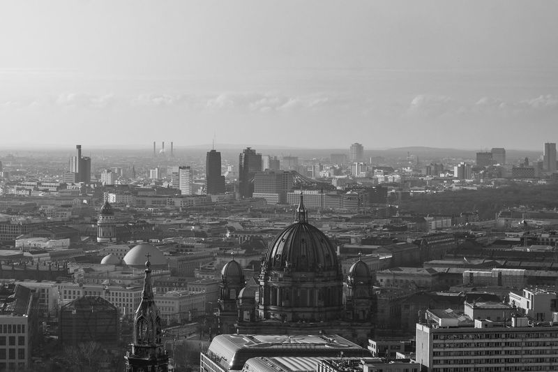foggy panorama of Berlin Building Exterior Built Structure Architecture Cityscape City Building Sky Nature Crowd Crowded Residential District Day Outdoors High Angle View Office Building Exterior Travel Destinations Dome Cloud - Sky Skyscraper Berlin