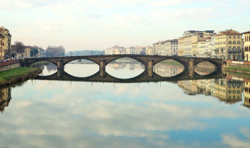 Scenic view of bridge over river in city against sky