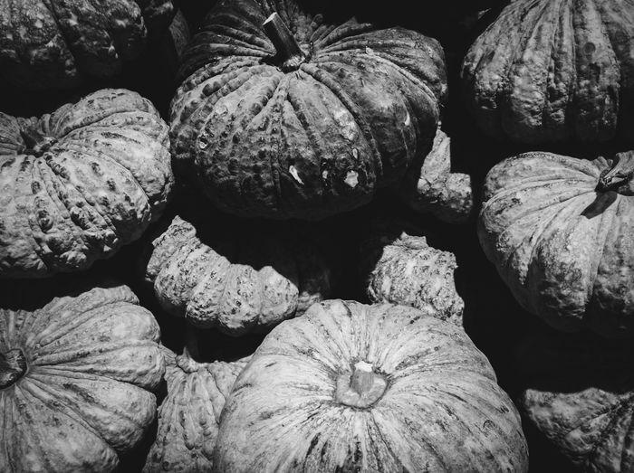 Thai pumpkins in monochrome Black And White Blackandwhite Monochrome Variation Close-up Pumpkin Farmer Market Medium Group Of Objects Squash - Vegetable Trick Or Treat Halloween Pumpkin Seed Prepared Food Biology