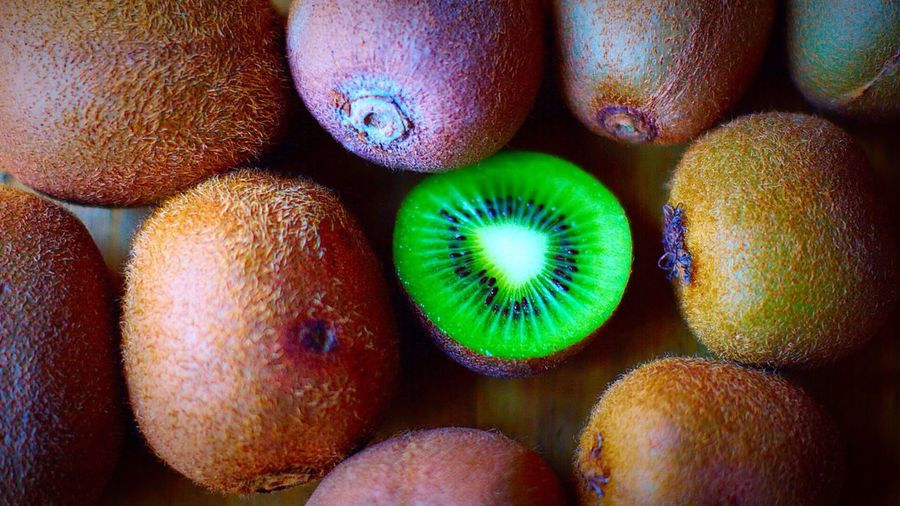 Close-up view of fresh kiwis