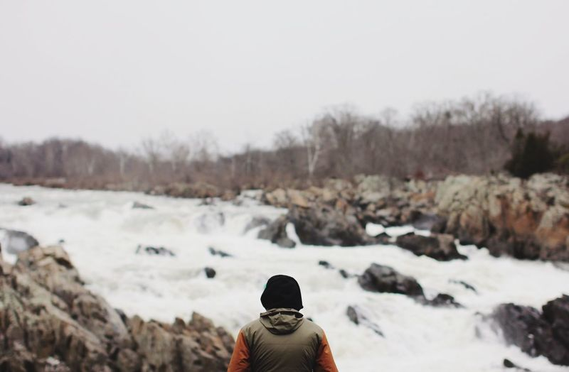 Rear View Of Person At Great Falls Park