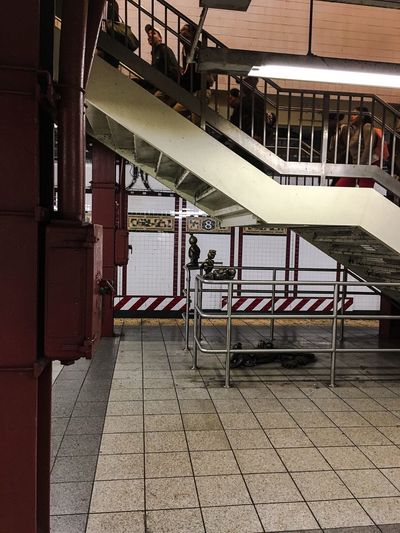 14th Street New York City Subway Tomotterness New Yorker Railing Architecture Built Structure Steps And Staircases Indoors  City