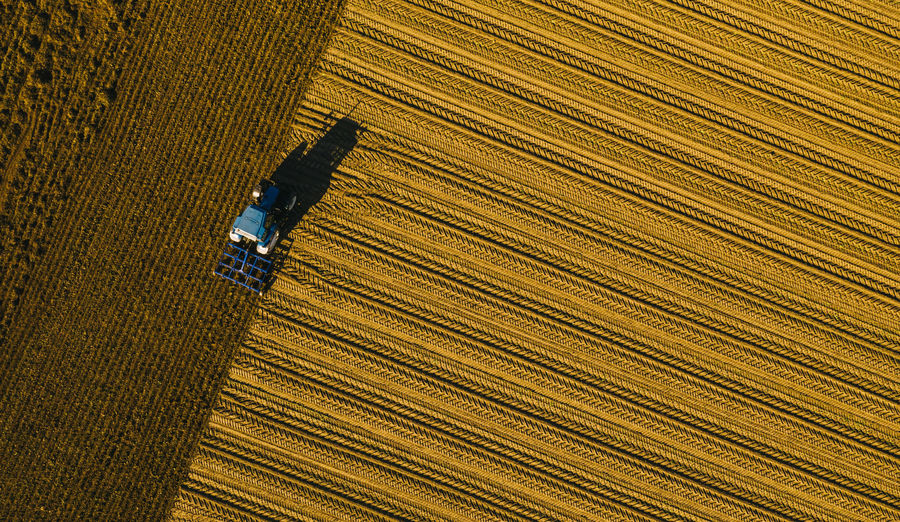tractor ploughing a field. Industrial background on agricultural theme. Use drones to inspect of your business. Yellow Work Wood Grain Wood - Material Wheat View Transport Tractor Textured  Textile Technology Strength Sowing Shadow Seeding Seed Season  Scattering Row Retro Renewable Pattern No People Metal Machinery Machine Lifestyles Landscape Land Job Industry Industrial Indoors  High Angle View Harvester Harvest Growth Growing Grow Full Frame Flooring Field Farmland Farming Farmer Farm Energy Drone  Drilling Day Cultivate Crop  Countryside Corn Close-up Carpet - Decor Business Brown Bird Biomass Backgrounds Background Autumn Arable Air Agronomy Agriculture Agricultural Agrarian Aerial