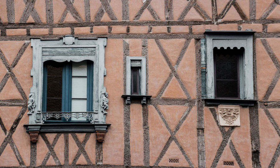 Architecture Beam Brick Wall Building Exterior Built Structure Day Façade France Front View Full Frame No People Outdoors Salmon Shape Shapes And Patterns  Window Windows Wood - Material Secret Spaces Secret Spaces The Architect - 2017 EyeEm Awards Neighborhood Map Place Of Heart The Architect - 2017 EyeEm Awards