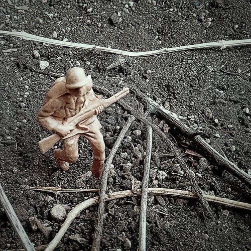 Toy Story Toy Toy Soldier Plastic War Hide And Seek Garden Soil Dirt The Action Photographer - 2015 EyeEm Awards