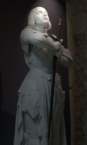 Joan of Arc statue, Cathedral museum, Rouen, France Art And Craft Day Female Likeness France Photos Human Representation Joan Of Arc Low Angle View Male Likeness No People Outdoors Rouen, France Sculpture Statue