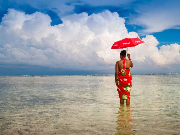Port Vila Vanuatu Basket Beach Blue Sky Blue Water Cloud - Sky Fruit Full Length Horizon Over Water Human Body Part Melanesia One Person One Woman Only Outdoors Pacific Ocean People Sea Sky Standing Tourism Travel Destinations Vivid International Water Woven Baskets