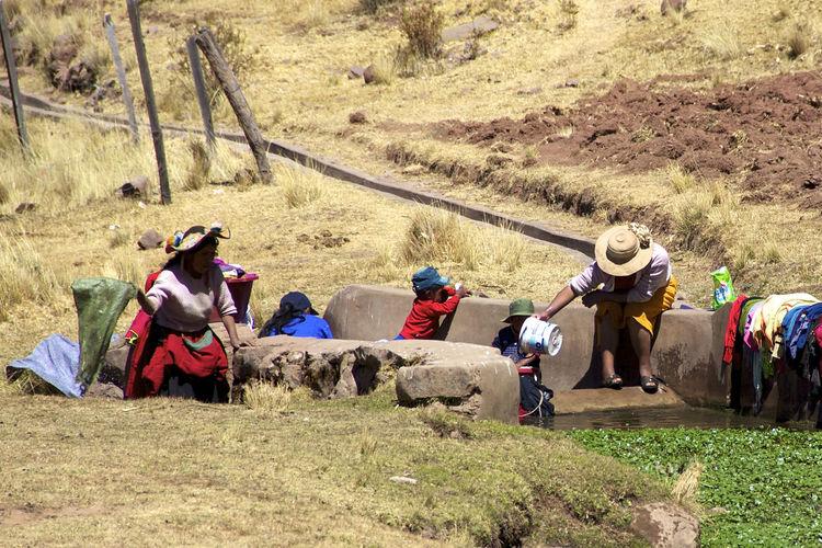 People on field