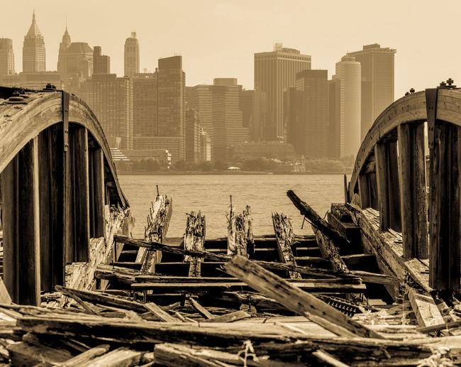 Broken bridge in city
