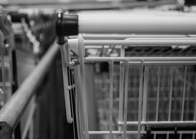Many shopping carts of a supermarket Shopping Shopping Center Shopping Cart Black And White Close-up Day Metal No People Outdoors Shopping Basket Shopping Time