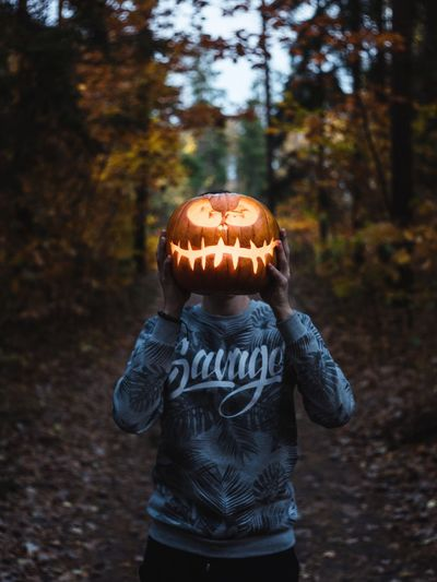 One Person Childhood Child Halloween Focus On Foreground Nature Real People Land Standing Day Autumn Leisure Activity Celebration Lifestyles Boys Tree Spooky Pumpkin Front View Outdoors Moody Moodygrams Holiday