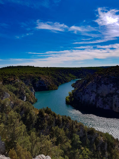 High angle view of river against sky