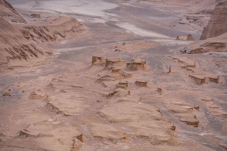 High angle view of desert land