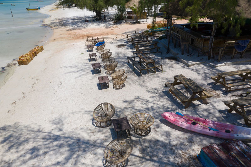 High angle view of umbrellas on beach