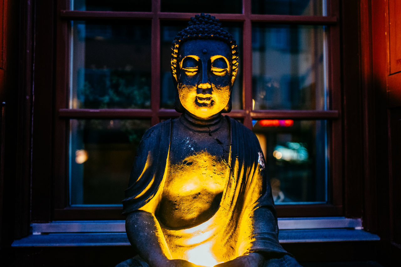 human representation, statue, male likeness, sculpture, art and craft, gold colored, spirituality, idol, religion, yellow, indoors, no people, golden color, gold, close-up, day