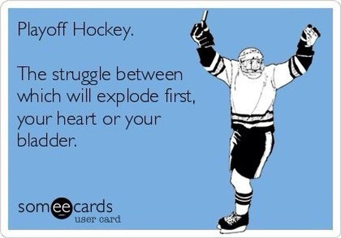 Hahah if you watched the game earlier you'll agree to this. I feel like i need to hold my heart while watching. What a game. LoveHockey Hockey CHIvsLAK