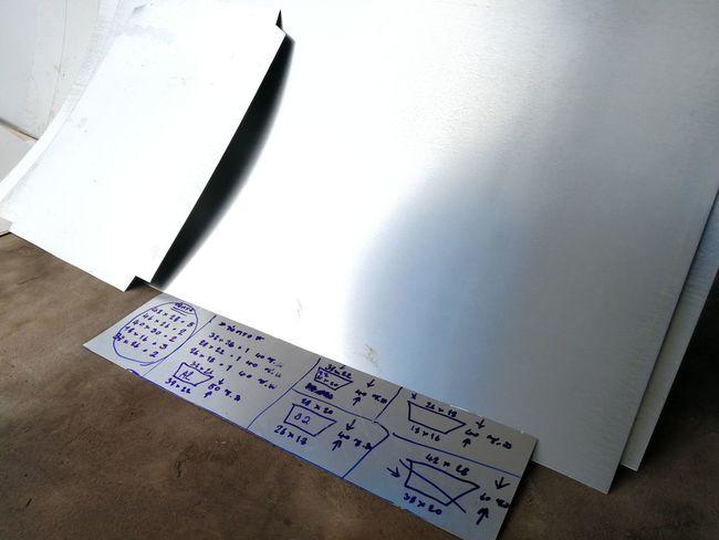 Dimension Air Duct Work Construction Site Workshop Sheet Exhaust Supply HVAC Marking Layout Plan Cutting Aluminum Close-up Ruler Eraser Measuring Number