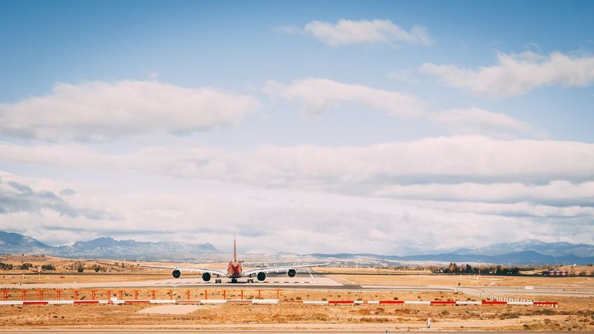 Mad Madrid Spain Madrid Lemd Airport Airport Runway Airplane Cloud - Sky Day Sky Landscape Blue Scenics Desert Airbus A340 Runway TakeOff Airport Photography Nature Flamingo Outdoors No People Animal Themes