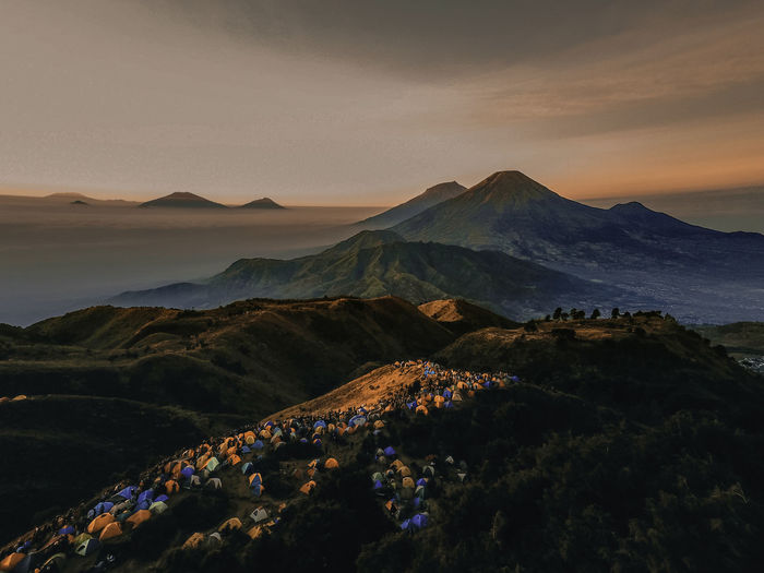 A beautiful night view from mount andong central java