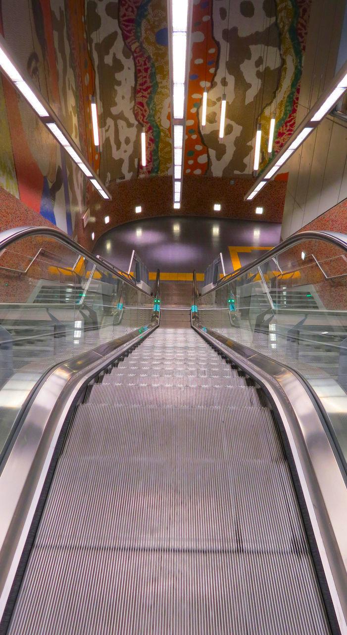 illuminated, escalator, indoors, railing, the way forward, modern, futuristic, technology, built structure, transportation, architecture, no people, day