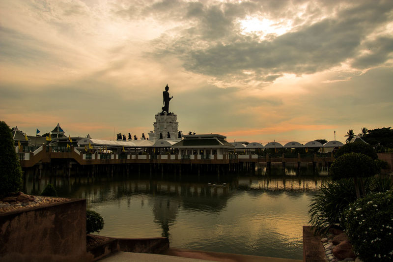 Peaceful evening Sky Cloud - Sky Architecture Built Structure Building Exterior Water Building Sunset Nature City No People Travel Destinations Reflection History The Past Place Of Worship Religion Tree Waterfront Outdoors