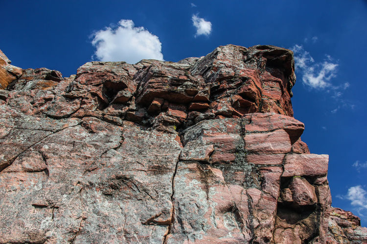 Low angle view of cliff against sky