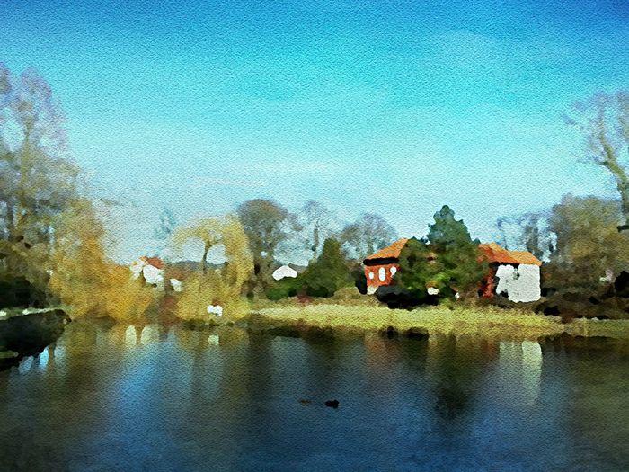 Stadtmuseum am Ententeich . Aquarell 36 x 48 cm 2014 . Art Watercolor Painting Nature Seascape Water Reflections Grass Trees Bushes Park City Museum Blue Sky Springtime