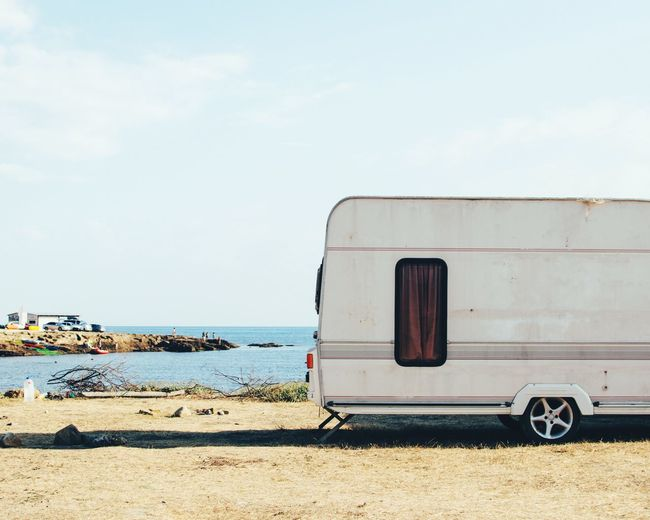 Along the beach, Meganom cape Travelling Trailerpark Camping Travel Transportation Mode Of Transport Day Sea Sky Outdoors Sand Land Vehicle Nature Water Beach Stationary