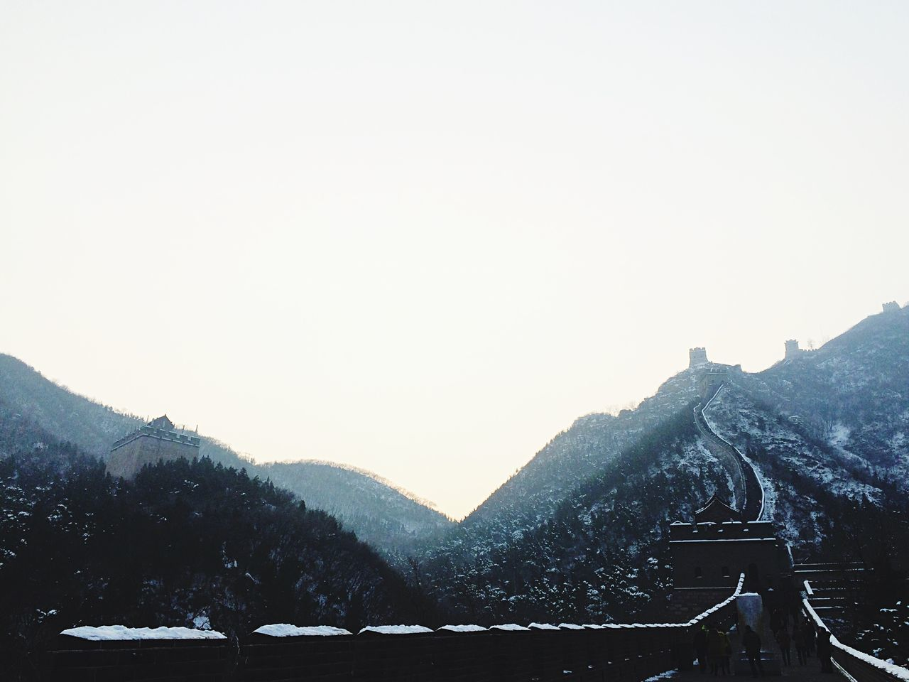 Great Wall Of China Against Sky During Winter