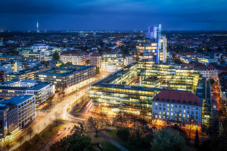 Hannover skyline in east direction Building Exterior Architecture City Built Structure Cityscape Illuminated Building Sky High Angle View Travel Destinations Night Tower City Life Dusk Long Exposure No People Cloud - Sky Outdoors Hannover Blue Hour Office Building Exterior EyeEmNewHere Skyline Cityscape Hannover City
