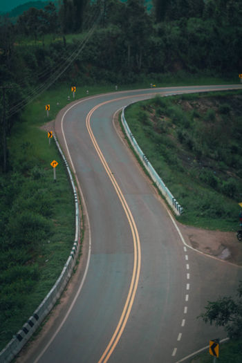 High angle view of highway by street