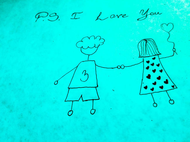 PS I LOVE YOU Couple EyeEmNewHere Holding Hands Love Ps I Love You Relationship Young Blue Close-up Cute Day Green Color Handmade In Love No People Outdoors Ps Water
