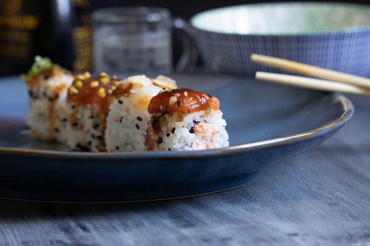 Close-up of sushi served in plate on table