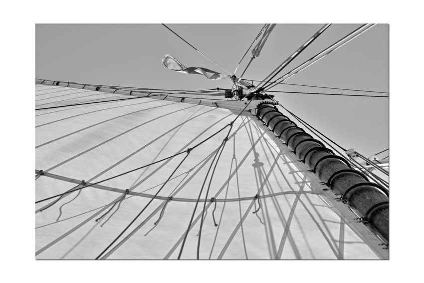 Sailing Aboard The Alma 8 Alma 1891 Scow Schooner Flat-bottomed Wooden-hulled Hoisting The Sails Sails Up Ships Rig Masts Ropes Clear Sky Light Wind Fore And Aft Sails A Perfect Day For Sailing Sailing Monochrome Black & White Black And White Photography Black And White Black And White Collection  Grayscale Sailing San Francisco Bay