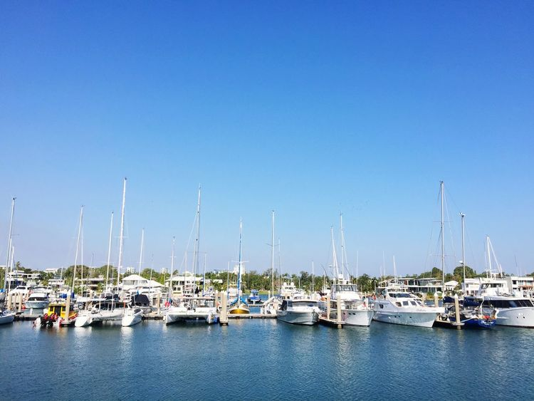with many of yachts in Cullen Bay Cosmopolitan Darwin Nautical Vessel Transportation Water Sky Mode Of Transportation Blue Clear Sky Sailboat Harbor Yacht