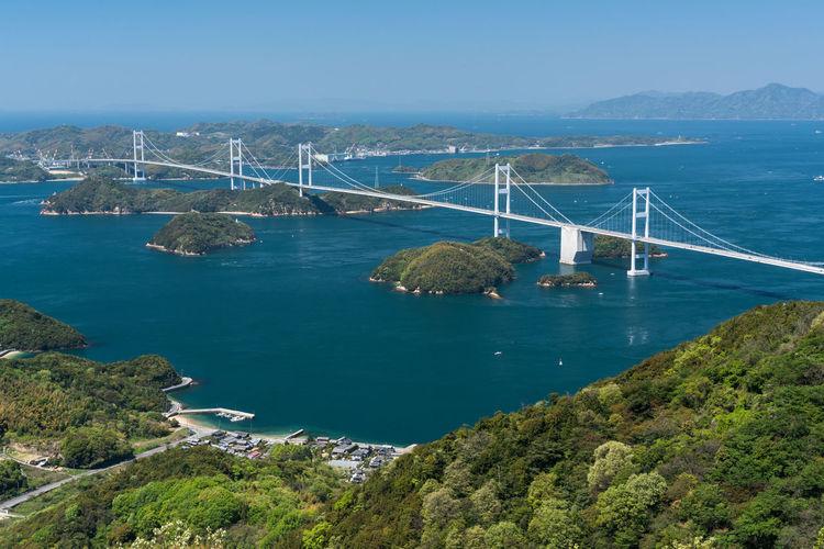 High Angle View Of Suspension Bridge Over Sea