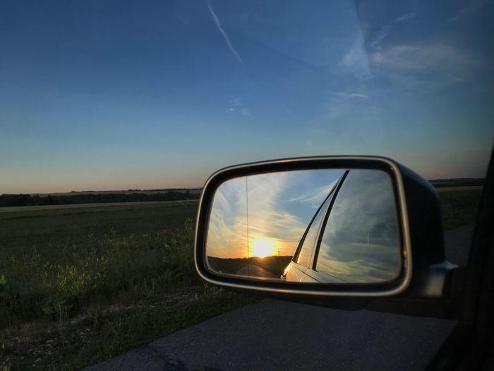 Sky Transportation Side-view Mirror Sunset Reflection Land Vehicle Mode Of Transportation Car Land Road Sunlight Field No People